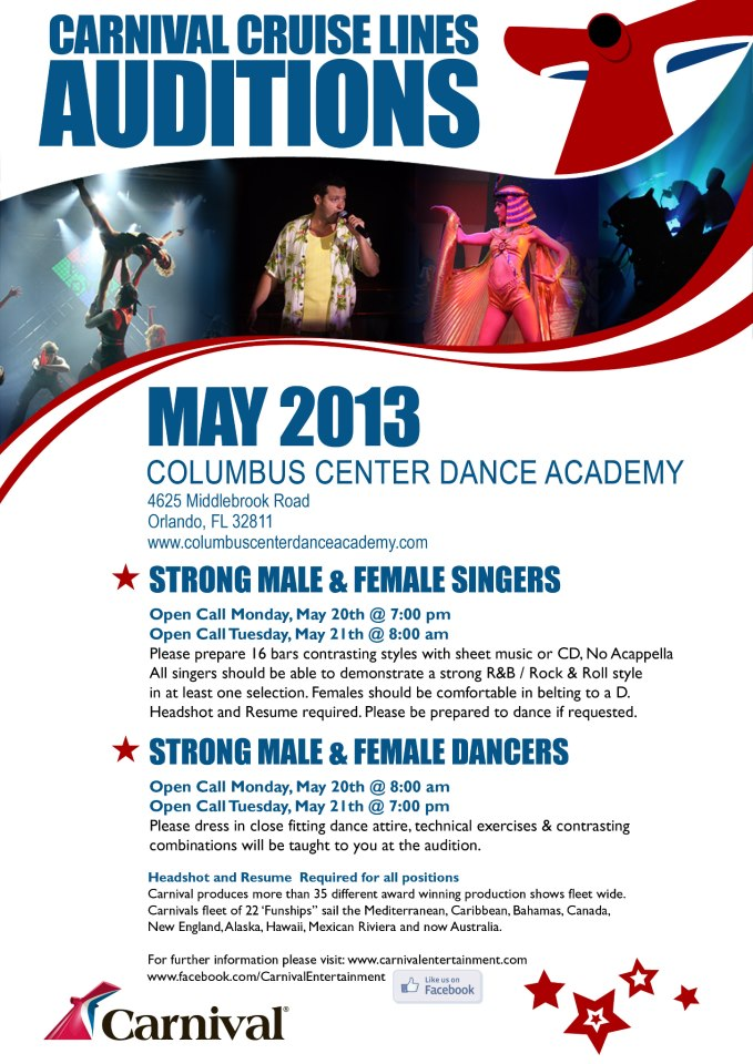 Carnival Cruise Line Auditions Facebook Youmailr Com