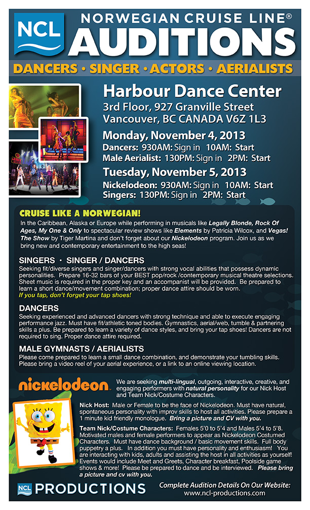 Norwegian Cruise Line Auditions In Vancouver Cruise Job